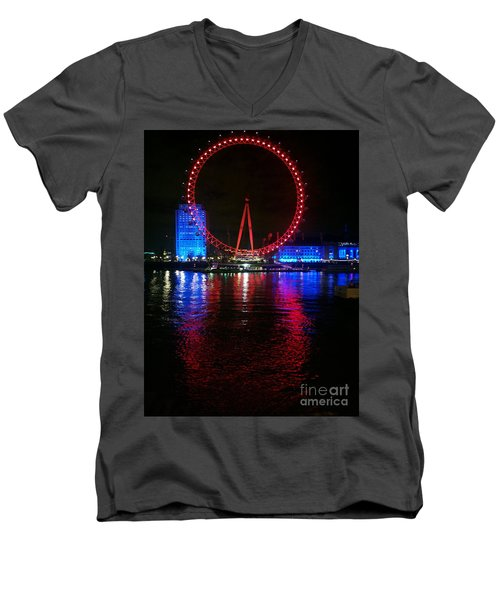 Men's V-Neck T-Shirt featuring the photograph London Eye At Night by Hanza Turgul