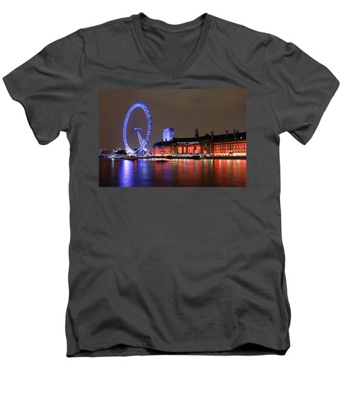 Men's V-Neck T-Shirt featuring the photograph London Eye By Night by RKAB Works