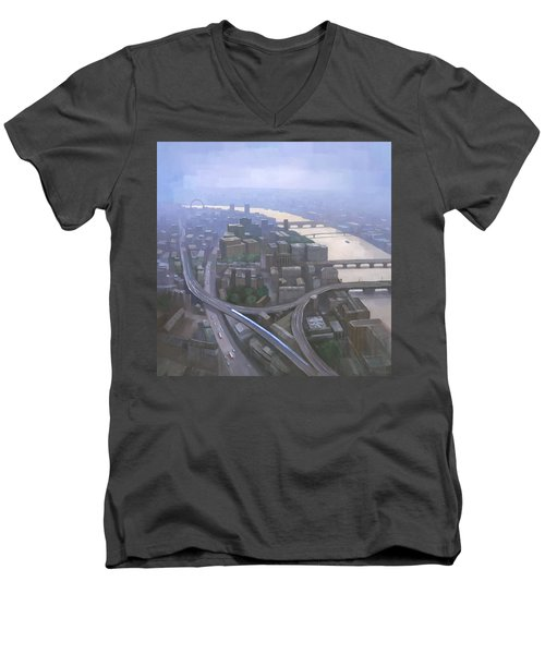 London, Looking West From The Shard Men's V-Neck T-Shirt by Steve Mitchell