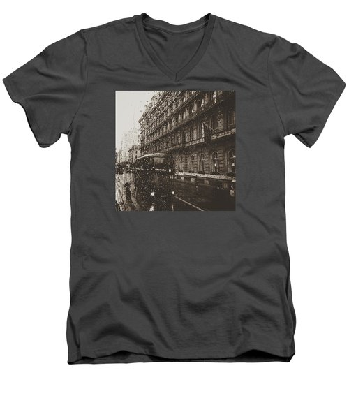 London Rain Men's V-Neck T-Shirt by Trystan Oldfield