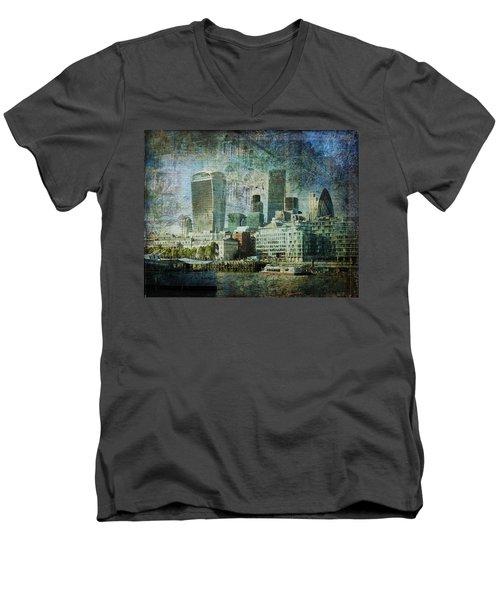 London Skyline Key Of Blue Men's V-Neck T-Shirt