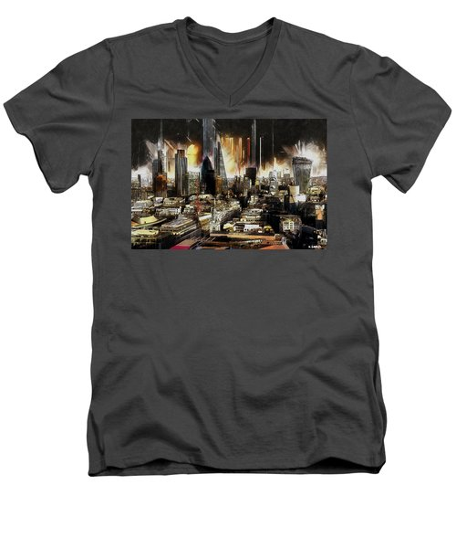 London Skyline Men's V-Neck T-Shirt by Kai Saarto