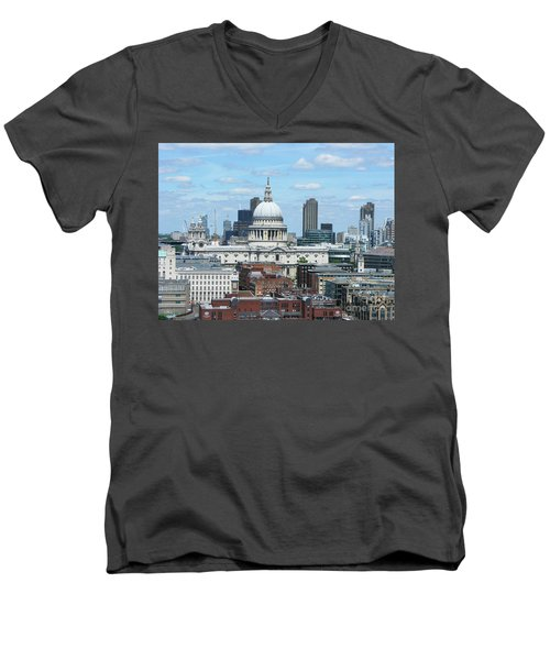 London Skyscrape - St. Paul's Men's V-Neck T-Shirt by Mini Arora