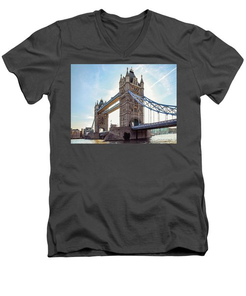 Men's V-Neck T-Shirt featuring the photograph London - The Majestic Tower Bridge by Hannes Cmarits