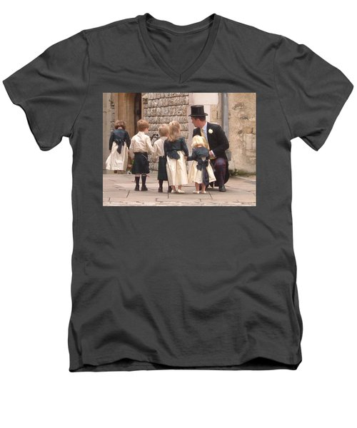 London Tower Wedding Men's V-Neck T-Shirt