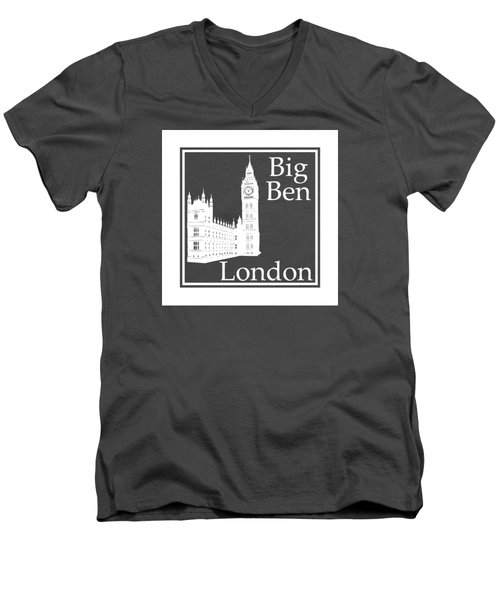 London's Big Ben In White - Inverse  Men's V-Neck T-Shirt by Custom Home Fashions