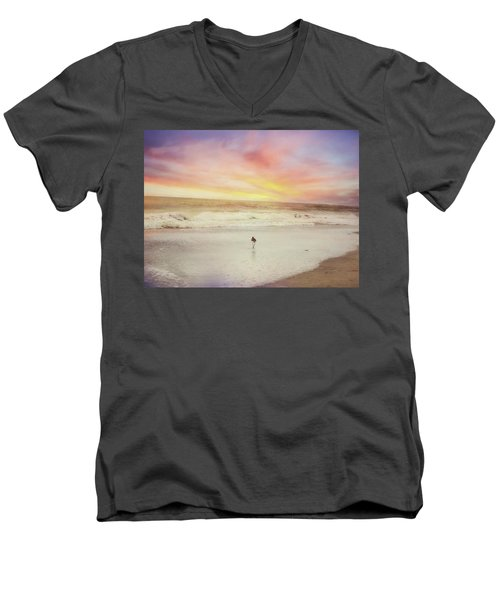 Lone Bird At Sunset Men's V-Neck T-Shirt