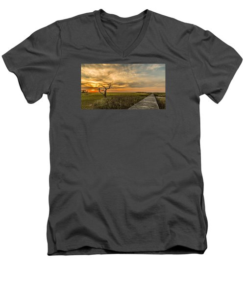 Men's V-Neck T-Shirt featuring the photograph Lone Cedar Dock Sunset - Dewees Island by Donnie Whitaker