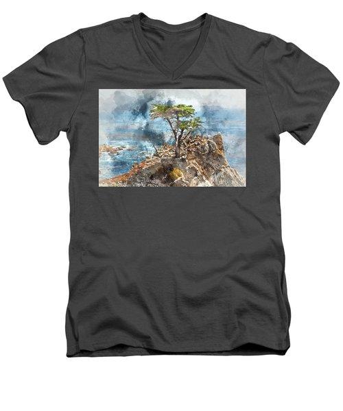 Lone Cypress In Monterey California Men's V-Neck T-Shirt