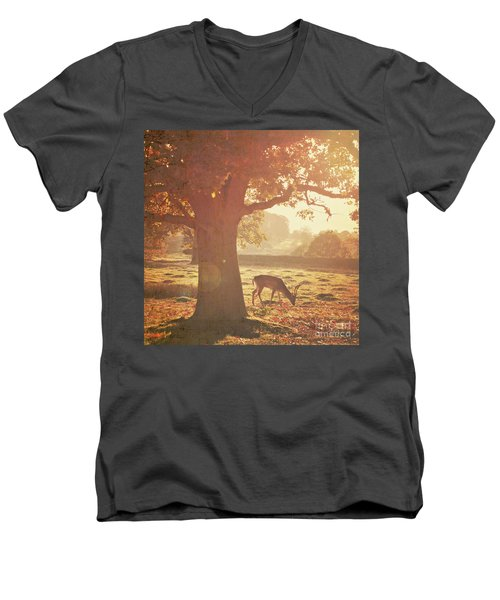 Men's V-Neck T-Shirt featuring the photograph Lone Deer by Lyn Randle