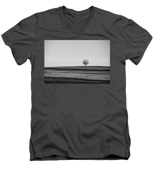Lone Hawthorn Tree Iv Men's V-Neck T-Shirt by Helen Northcott