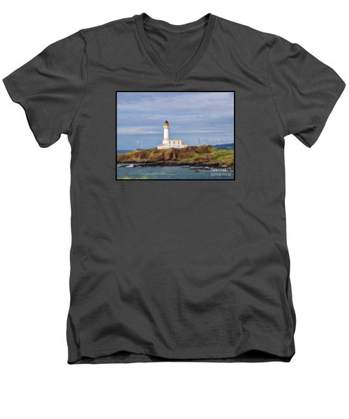 Men's V-Neck T-Shirt featuring the photograph Lone Lighthouse In Scotland by Roberta Byram