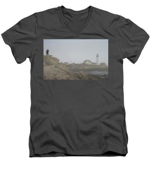 Men's V-Neck T-Shirt featuring the photograph Lone Photographer At Portland Headlight by Tim Kathka
