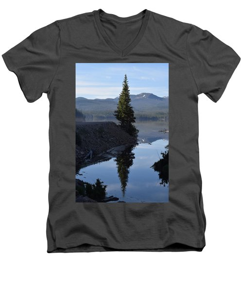 Lone Pine Reflection Chambers Lake Hwy 14 Co Men's V-Neck T-Shirt