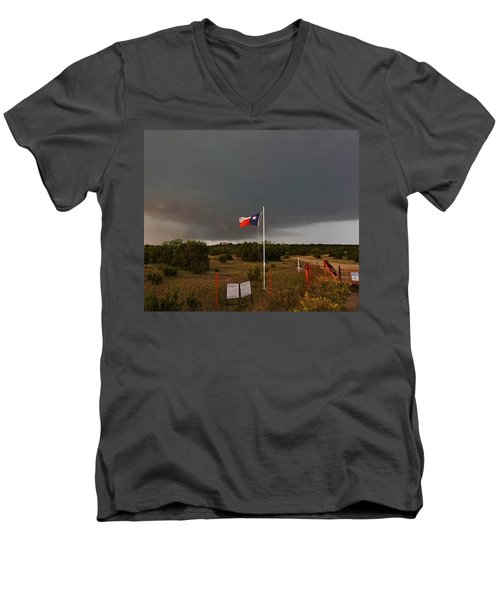 Lone Star Supercell Men's V-Neck T-Shirt by Ed Sweeney