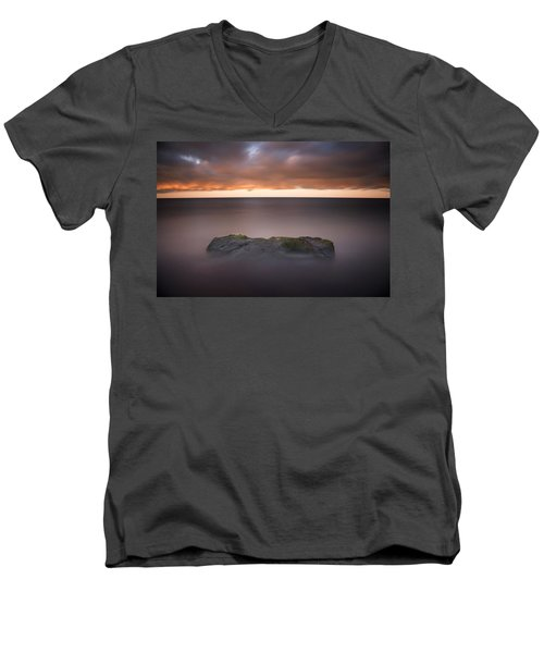 Men's V-Neck T-Shirt featuring the photograph Lone Stone At Sunrise by Adam Romanowicz