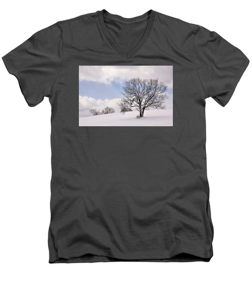 Lone Tree In Snow Men's V-Neck T-Shirt by Betty Denise