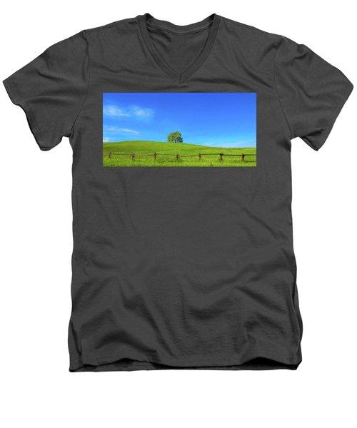 Lone Tree On A Hill Digital Art Men's V-Neck T-Shirt