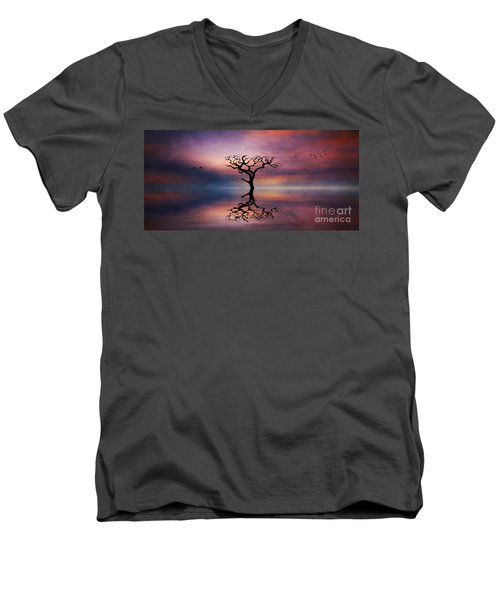 Lone Tree Sunrise Men's V-Neck T-Shirt by Ian Mitchell