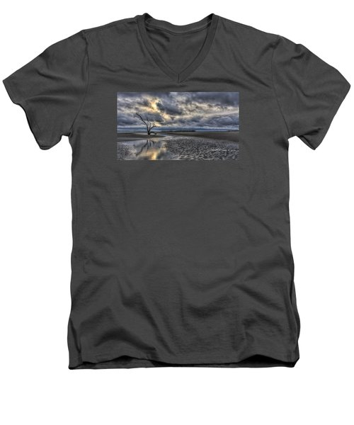 Lone Tree Under Moody Skies Men's V-Neck T-Shirt