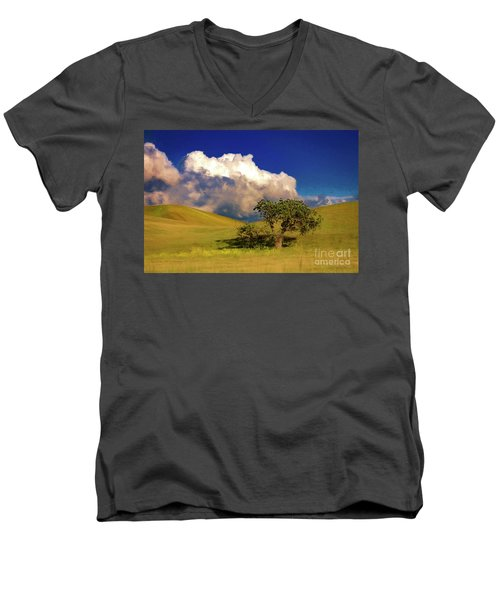 Men's V-Neck T-Shirt featuring the photograph Lone Tree With Storm Clouds by John A Rodriguez