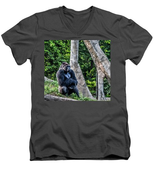 Men's V-Neck T-Shirt featuring the photograph Lonely Gorilla by Joann Copeland-Paul