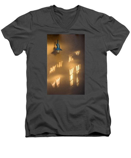 Men's V-Neck T-Shirt featuring the photograph Lonely Lamp Among Sunrise Window Light Reflections by Gary Slawsky
