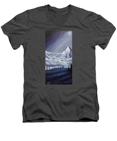 Men's V-Neck T-Shirt featuring the painting Lonely Mountain by Dan Wagner