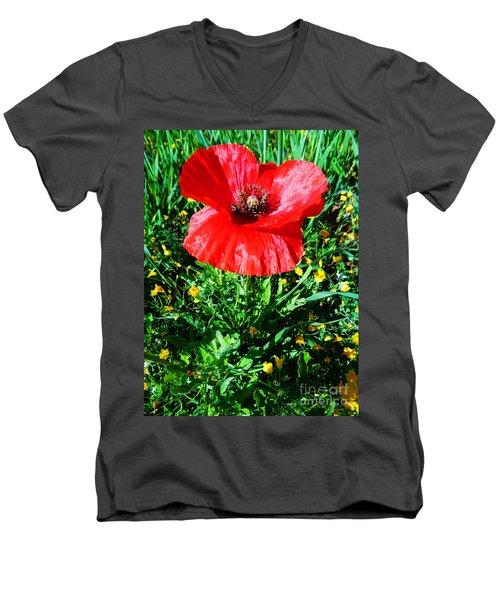 Lonely Poppy Men's V-Neck T-Shirt by Don Pedro De Gracia