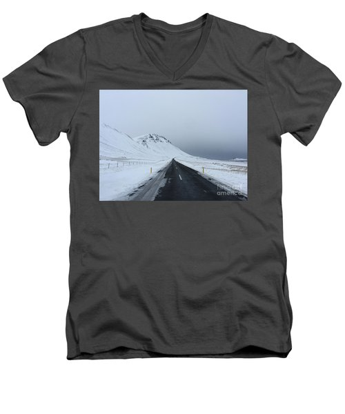 Lonely Road On Snaefellsnes Peninsula Men's V-Neck T-Shirt