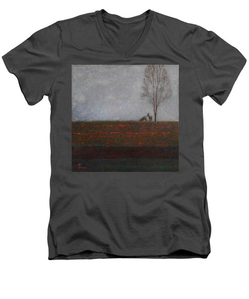 Lonely Tree With Two Roes Men's V-Neck T-Shirt