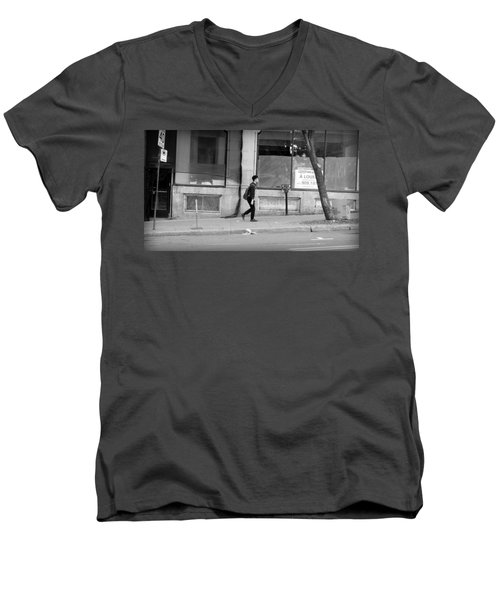 Men's V-Neck T-Shirt featuring the photograph Lonely Urban Walk by Valentino Visentini