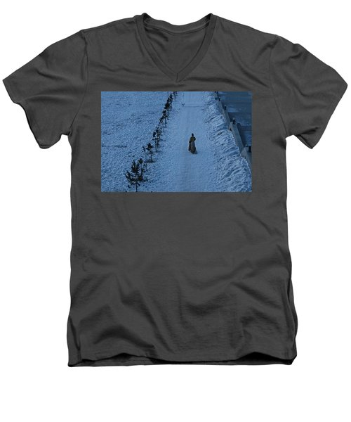 Lonely Walk/tsagaan Sar Men's V-Neck T-Shirt by Diane Height
