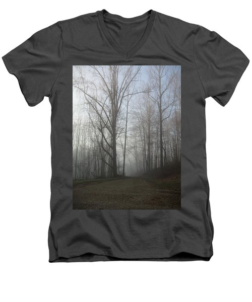 Men's V-Neck T-Shirt featuring the photograph Lonesome Road by Cynthia Lassiter