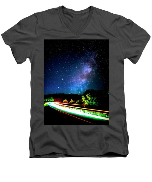 Men's V-Neck T-Shirt featuring the photograph Lonesome Texas Highway by David Morefield
