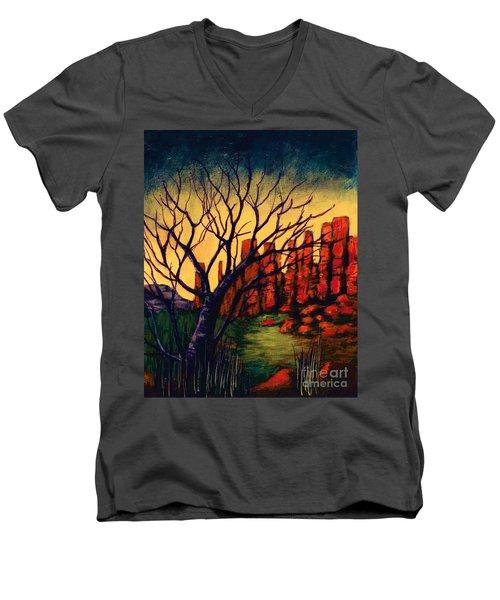 Lonesome Tree  Men's V-Neck T-Shirt