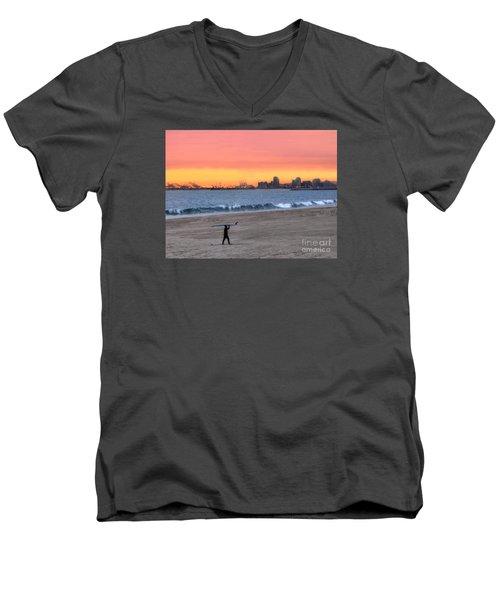 Long Beach From Huntington Beac Men's V-Neck T-Shirt
