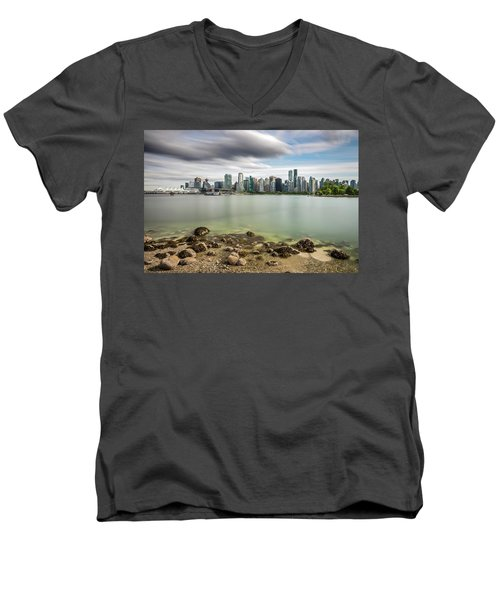 Long Exposure Of Vancouver City Men's V-Neck T-Shirt by Pierre Leclerc Photography