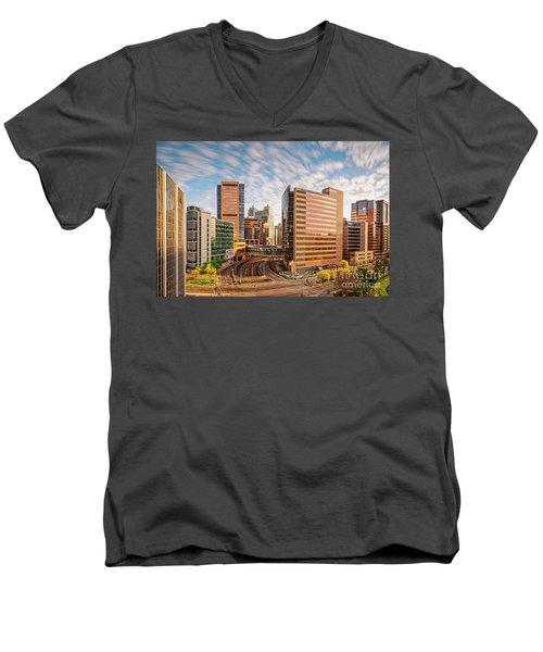 Long Exposure View Of The Texas Medical Center Houston Harris County - Southeast Texas Men's V-Neck T-Shirt