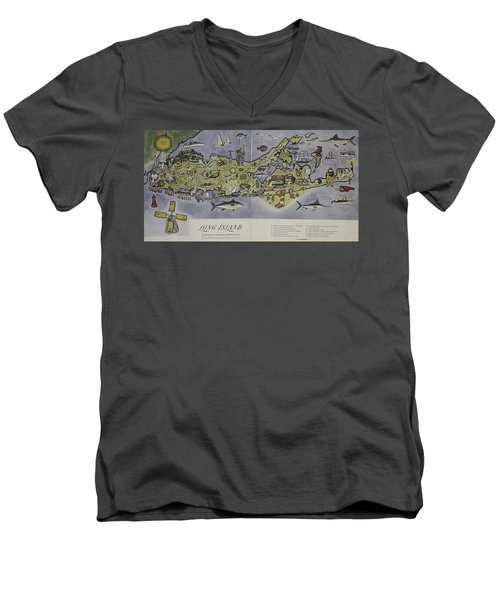 Long Island An Interpretive Cartograph Men's V-Neck T-Shirt by Duncan Pearson