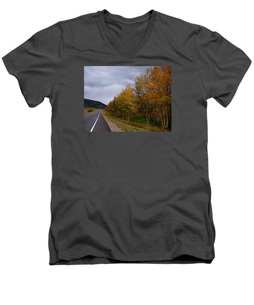 Men's V-Neck T-Shirt featuring the photograph Long Lonesome Hiway by Laura Ragland