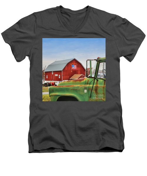 Men's V-Neck T-Shirt featuring the photograph Long May She Wave by DJ Florek