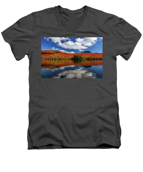 Long Pond And Clouds Men's V-Neck T-Shirt