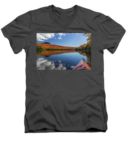 Long Pond From A Kayak Men's V-Neck T-Shirt by Tim Kirchoff
