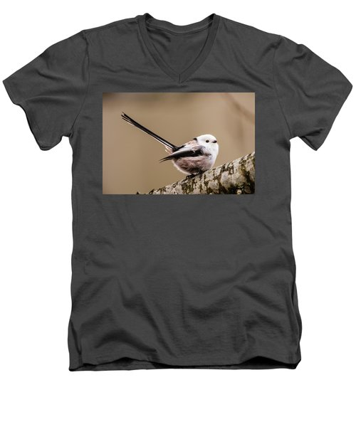 Long-tailed Tit Wag The Tail Men's V-Neck T-Shirt by Torbjorn Swenelius