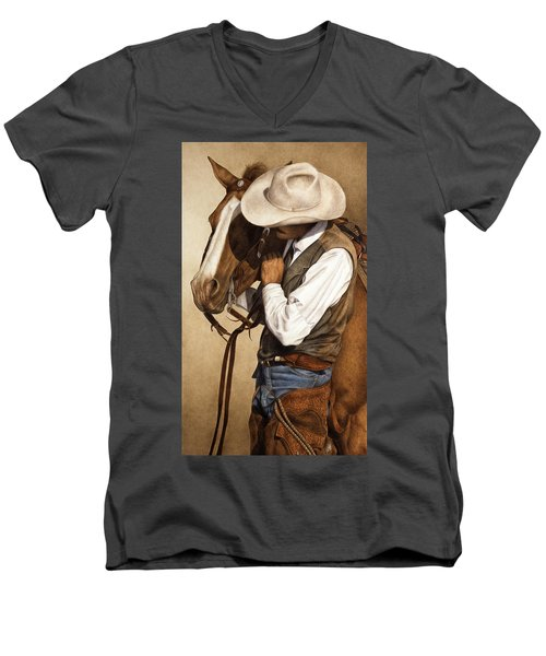 Men's V-Neck T-Shirt featuring the painting Long Time Partners by Pat Erickson