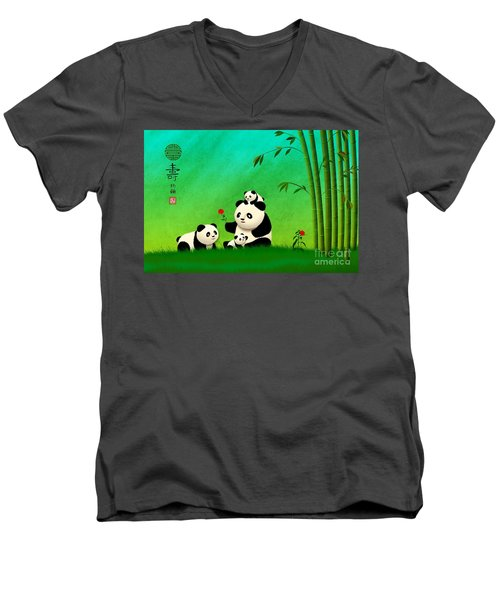 Longevity Panda Family Asian Art Men's V-Neck T-Shirt
