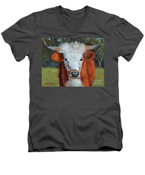 Longhorn Cow Painting II, Ms Tilly  Men's V-Neck T-Shirt