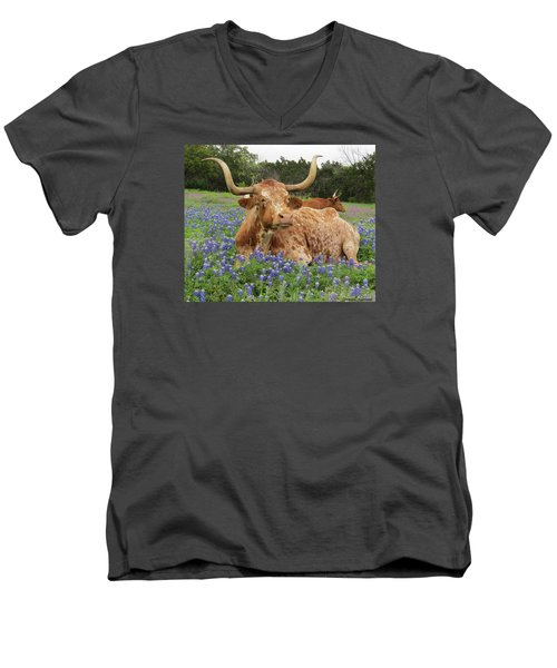 Da210 Longhorn In A Sea Of Bluebonnets By Daniel Adams Men's V-Neck T-Shirt