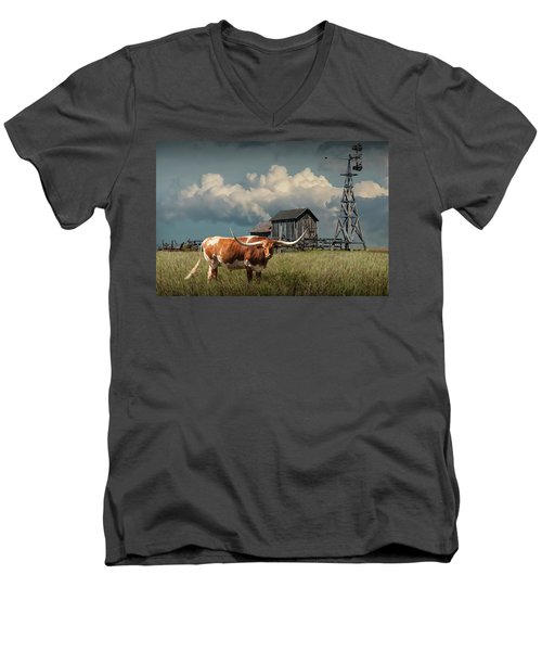 Longhorn Steer In A Prairie Pasture By Windmill And Old Gray Wooden Barn Men's V-Neck T-Shirt